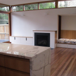 Kitchen bench and fireplace